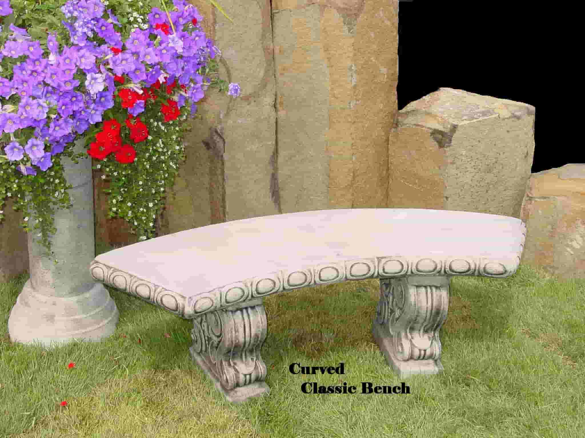 Concrete Works Statuary Inc Curved Classic Bench