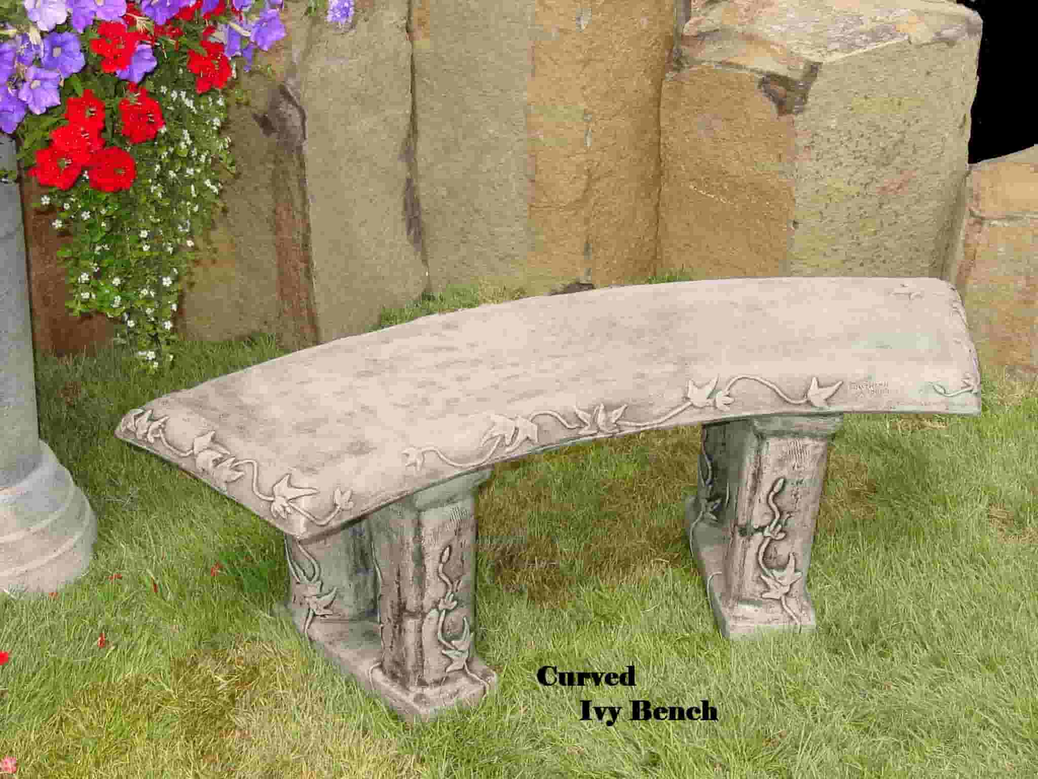 Concrete Works Statuary Inc Curved Ivy Bench