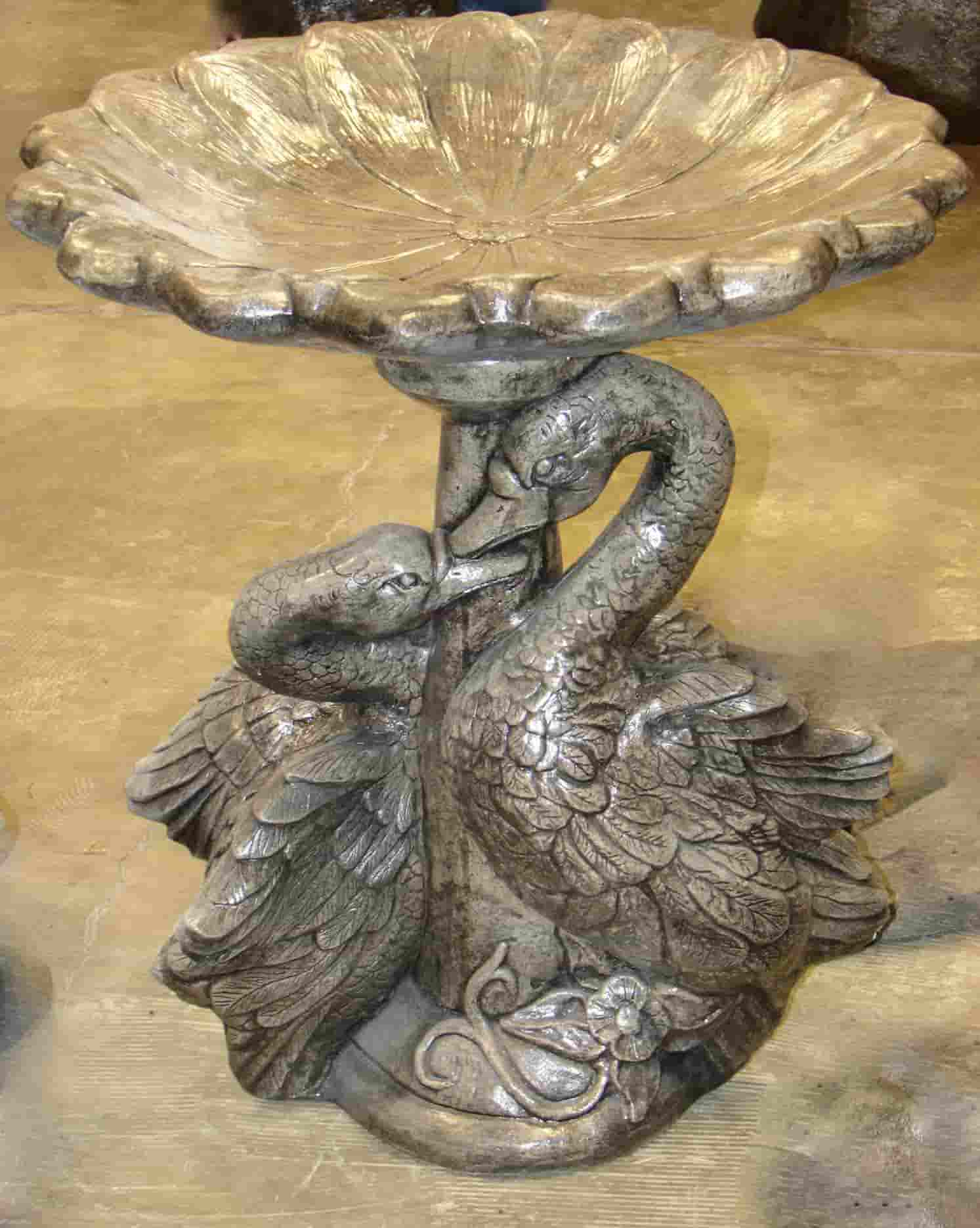 Concrete Works Statuary Inc Double Swan Birdbath
