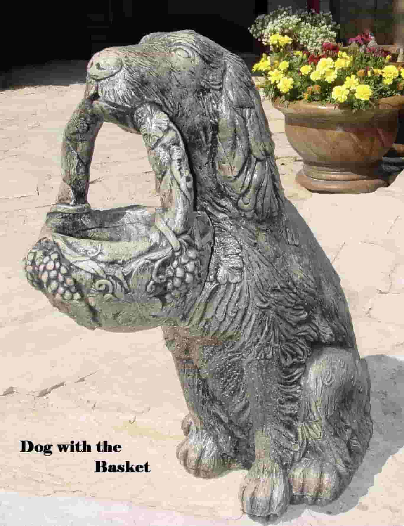 Concrete Works Statuary Inc Dog with Basket Planter