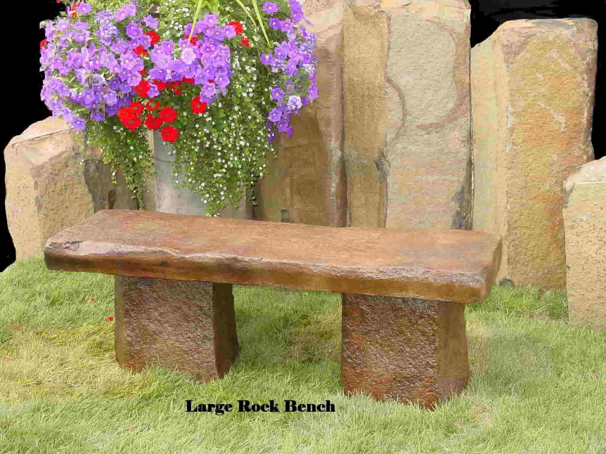 Concrete Works Statuary Inc Large Rock Bench