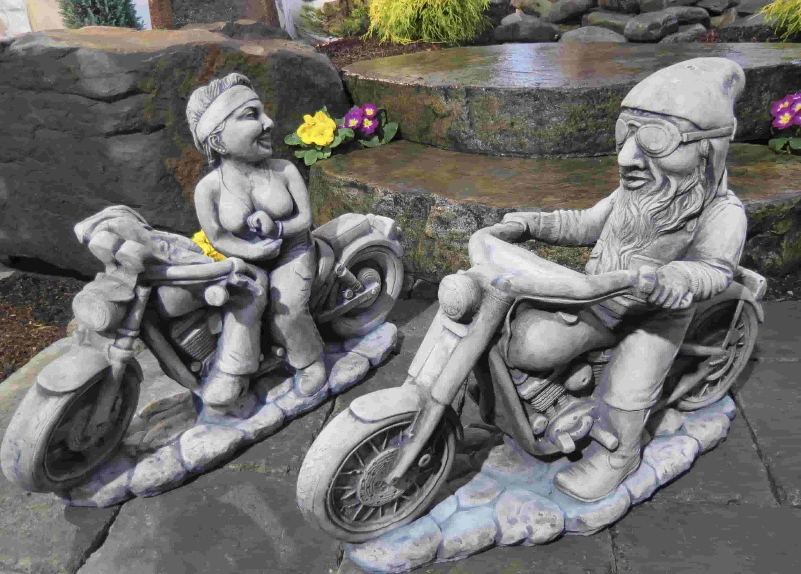 Concrete Works Statuary Inc Biker Gnomes