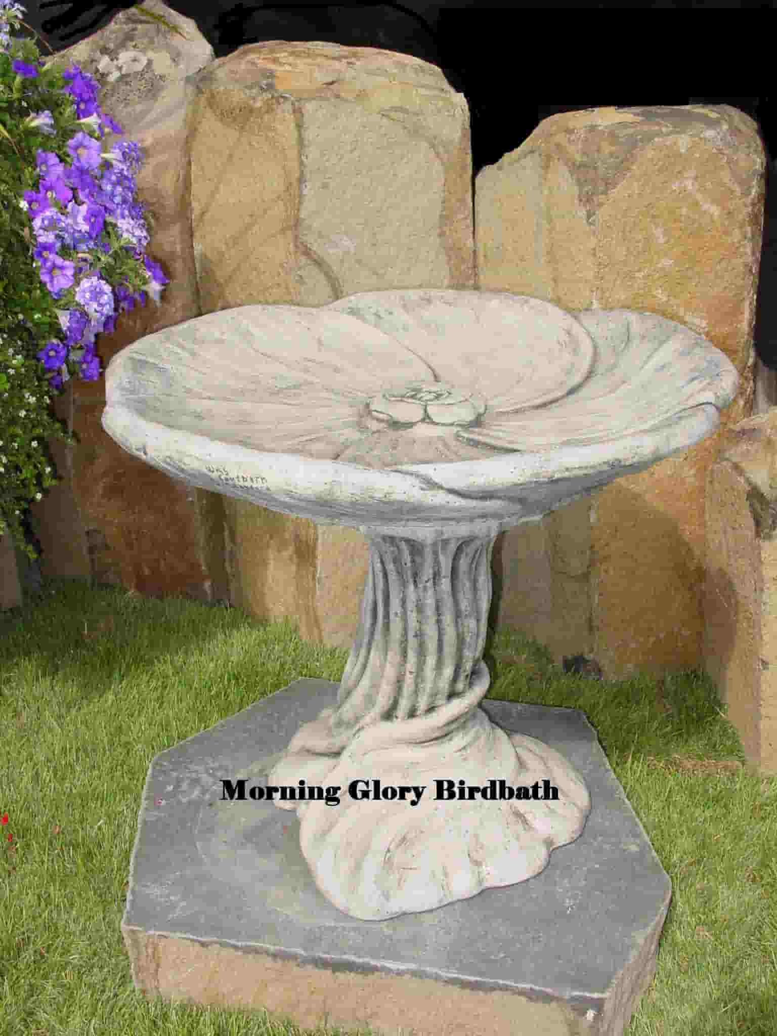 Concrete Works Statuary Inc Morning Glory Birdbath