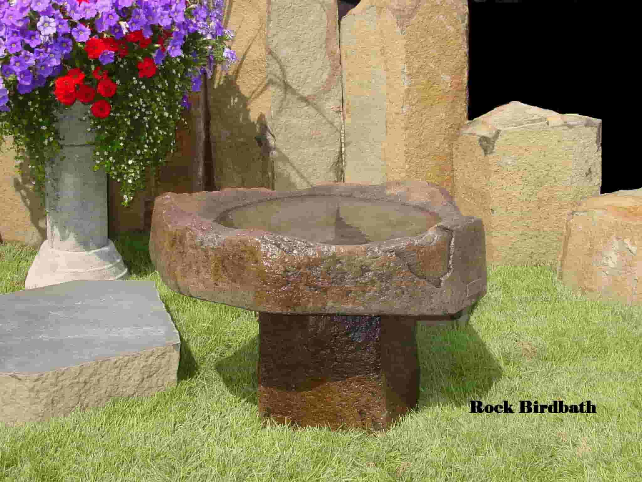 Concrete Works Statuary Inc Rock Birdbath