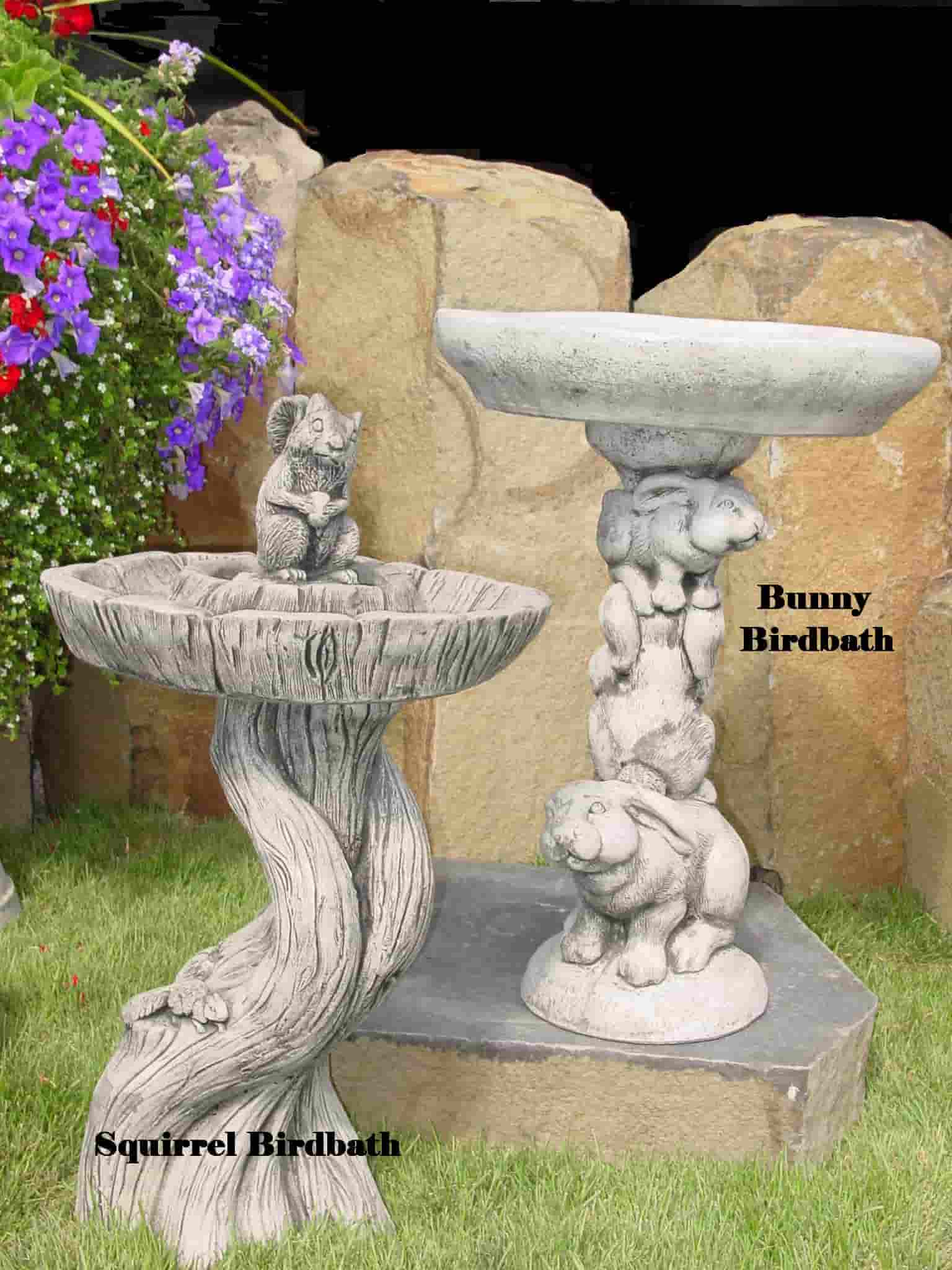 Concrete Works Statuary Inc Squirrel and Bunny Birdbaths