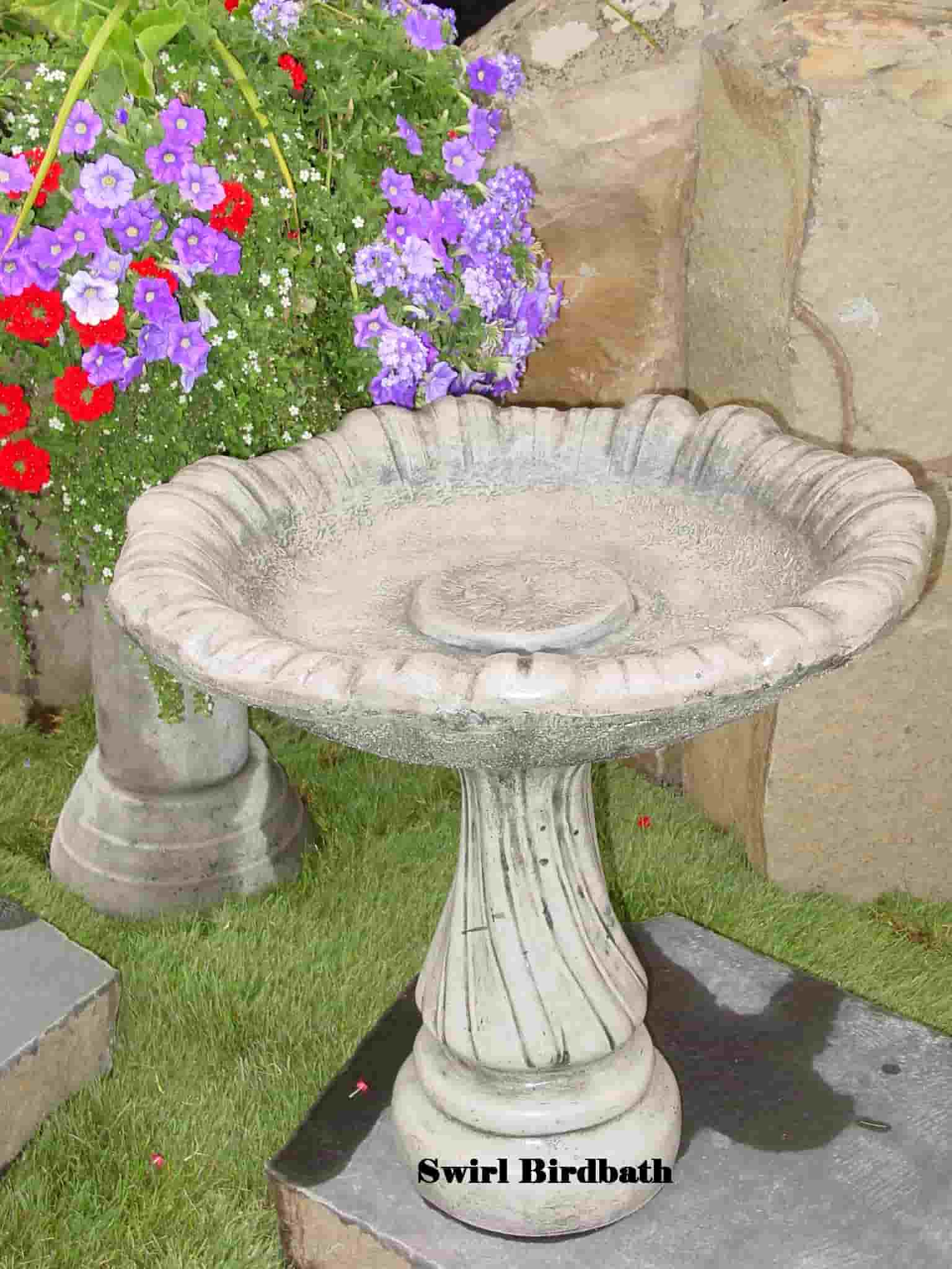 Concrete Works Statuary Inc Swirl Birdbath